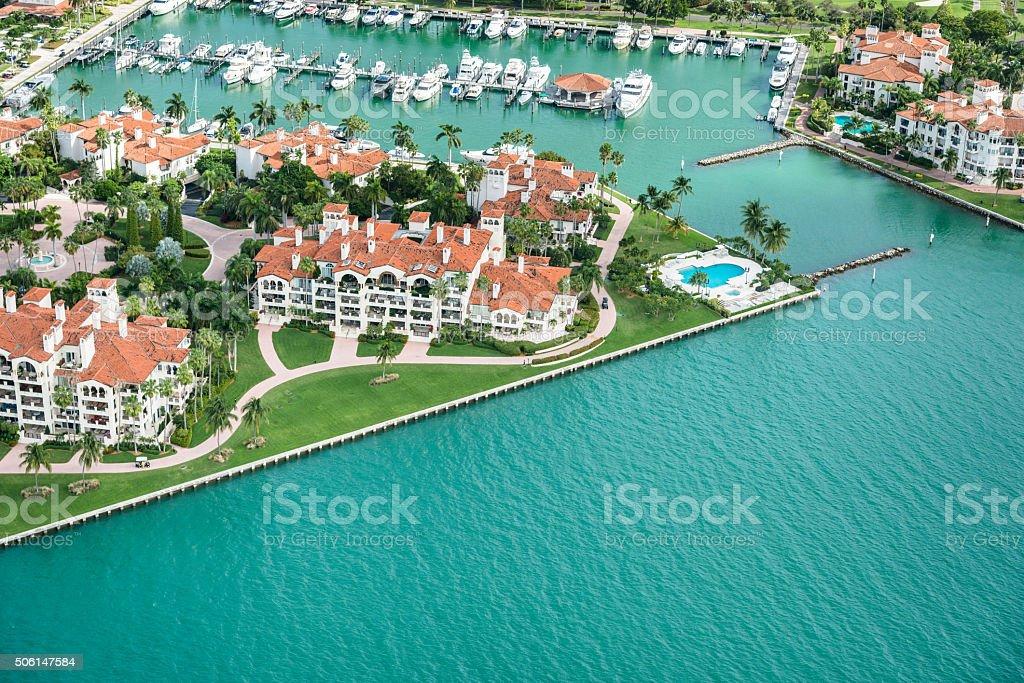Miami fisher island aerial view stock photo