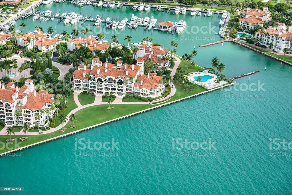 Miami fisher island aerial view stock photo