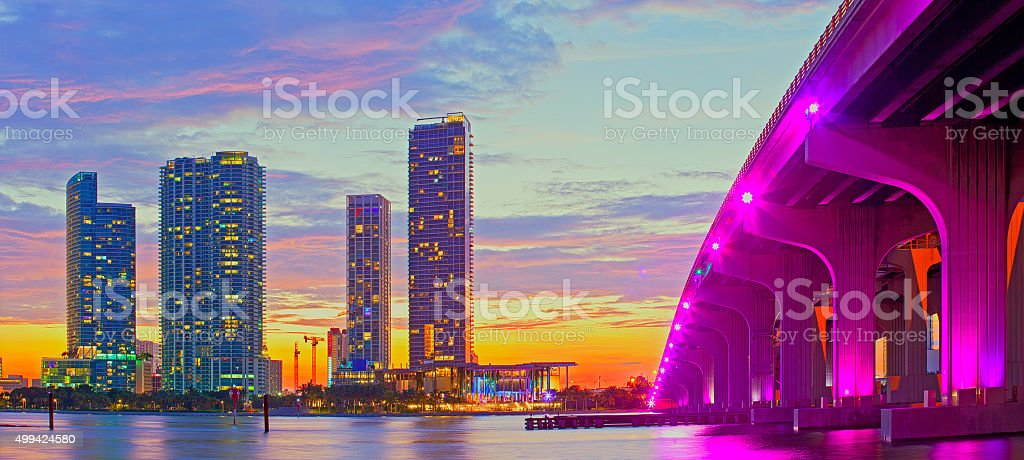 Miami Florida at sunset, colorful skyline stock photo