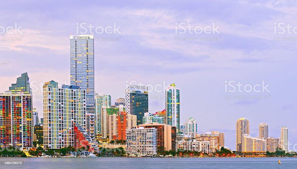 Miami Florida at sunset stock photo