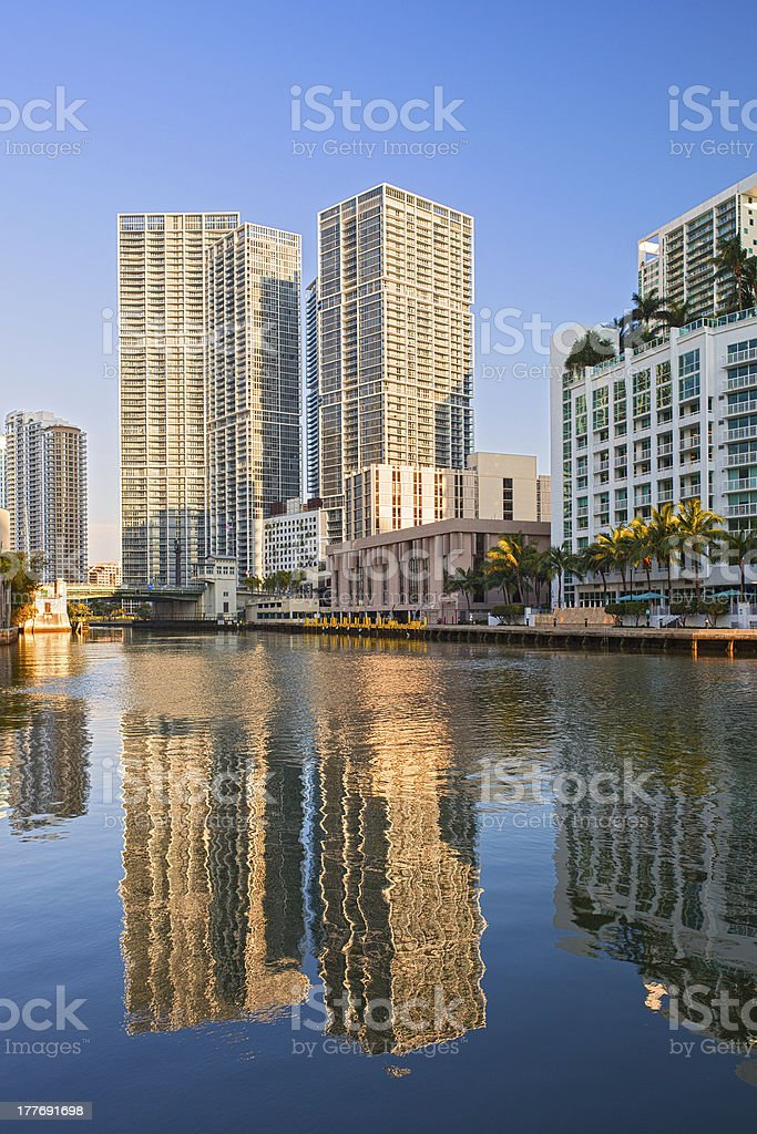 Miami Florida, Brickell and downtown financial buildings stock photo