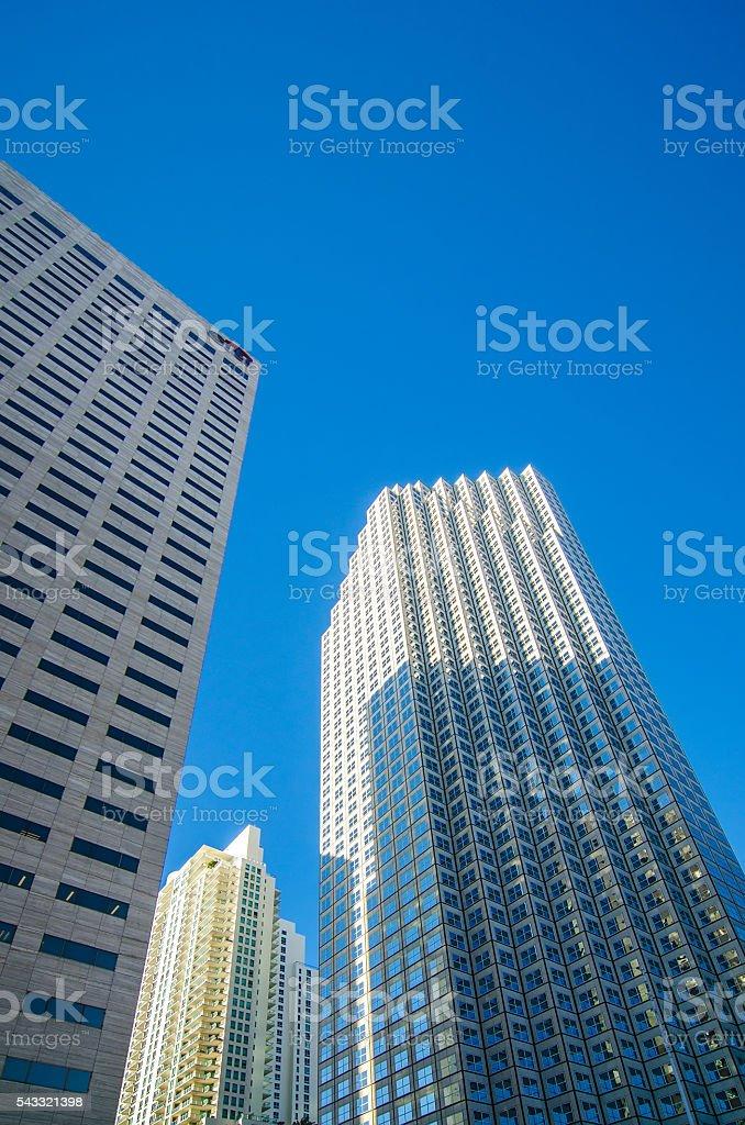 miami florida city skyline and streets stock photo