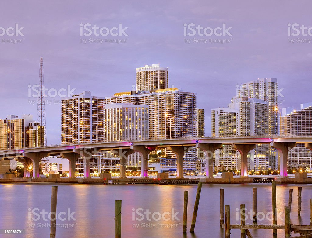 Miami Florida, dowtown buildings at sunset stock photo