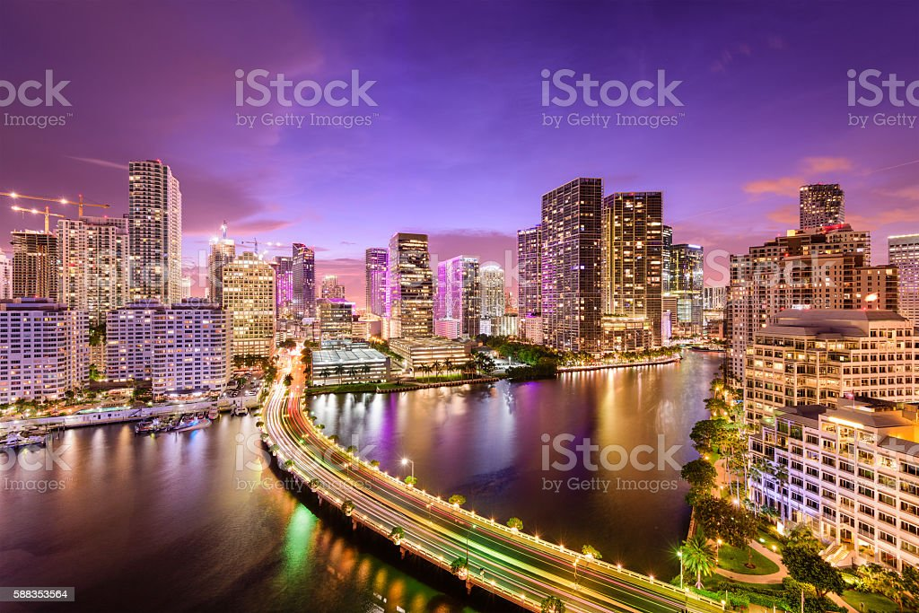 Miami, Florida Night Skyline stock photo
