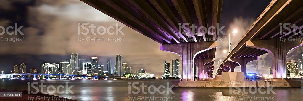 Miami Florida Night Skyline stock photo