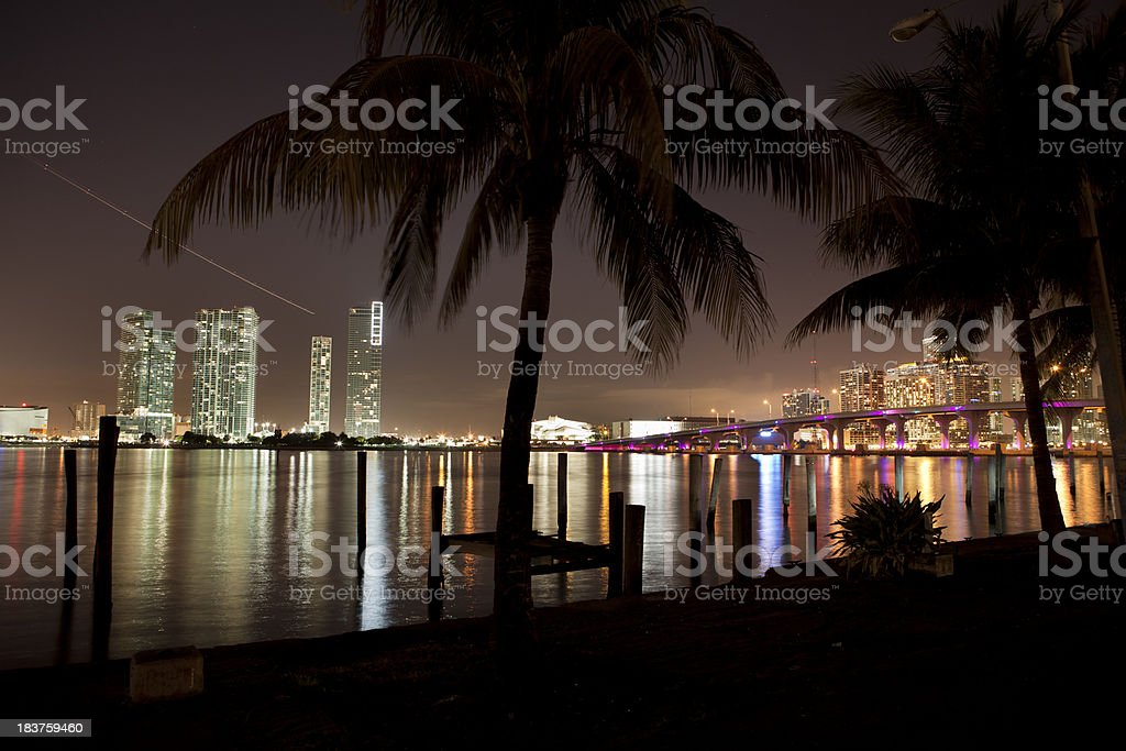 Miami Florida skyline at night royalty-free stock photo