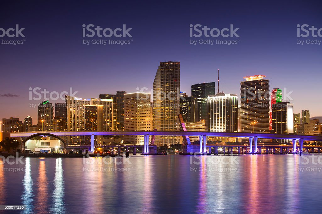 Miami Florida skyline at night stock photo