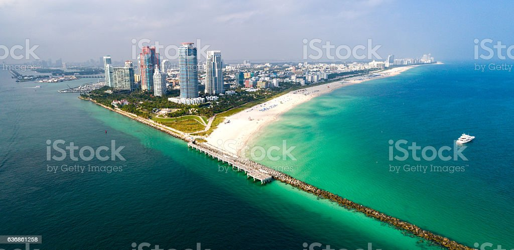 Miami Florida South Beach Aerial Panorama stock photo