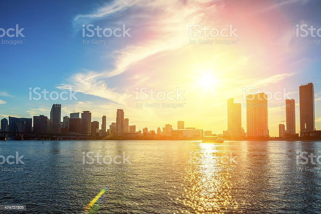 Miami Florida, sunset stock photo