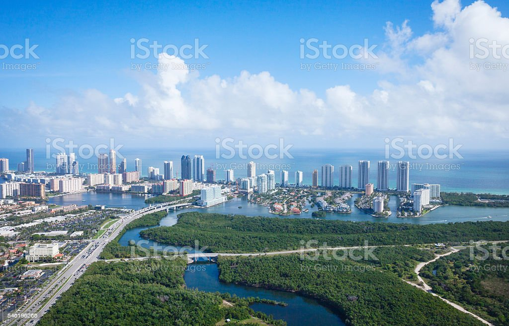 Miami Florida view from above stock photo