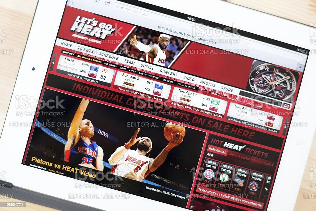 Miami Heat Website on iPad royalty-free stock photo