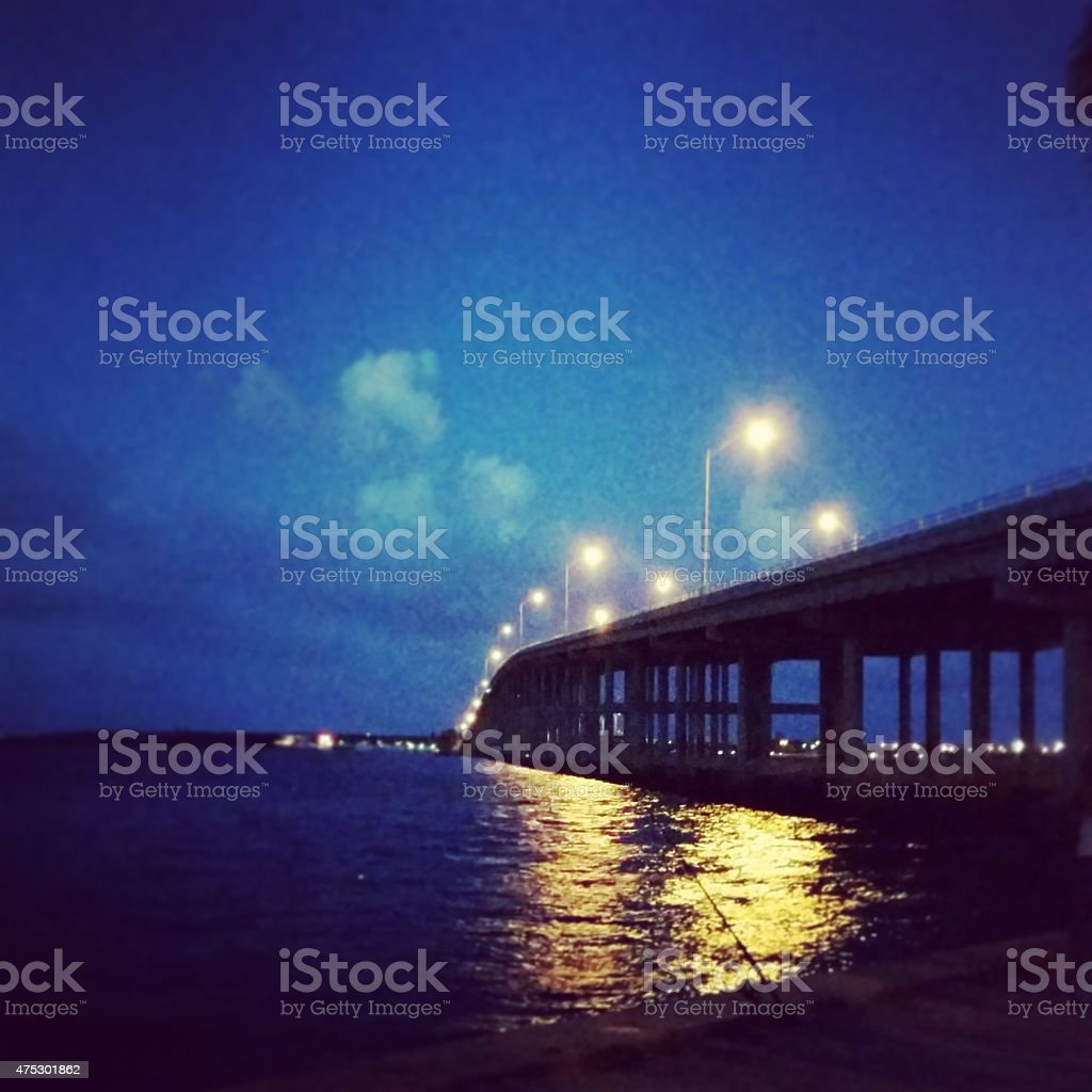 Miami Key Biscayne Bridge Rickenbacker Causeway at After Sunset Night stock photo