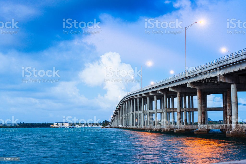 Miami Key Biscayne Bridge Rickenbacker Causeway Bridge Over Water stock photo