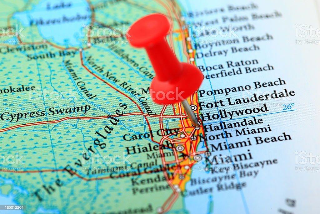 Miami Map, Florida - USA stock photo