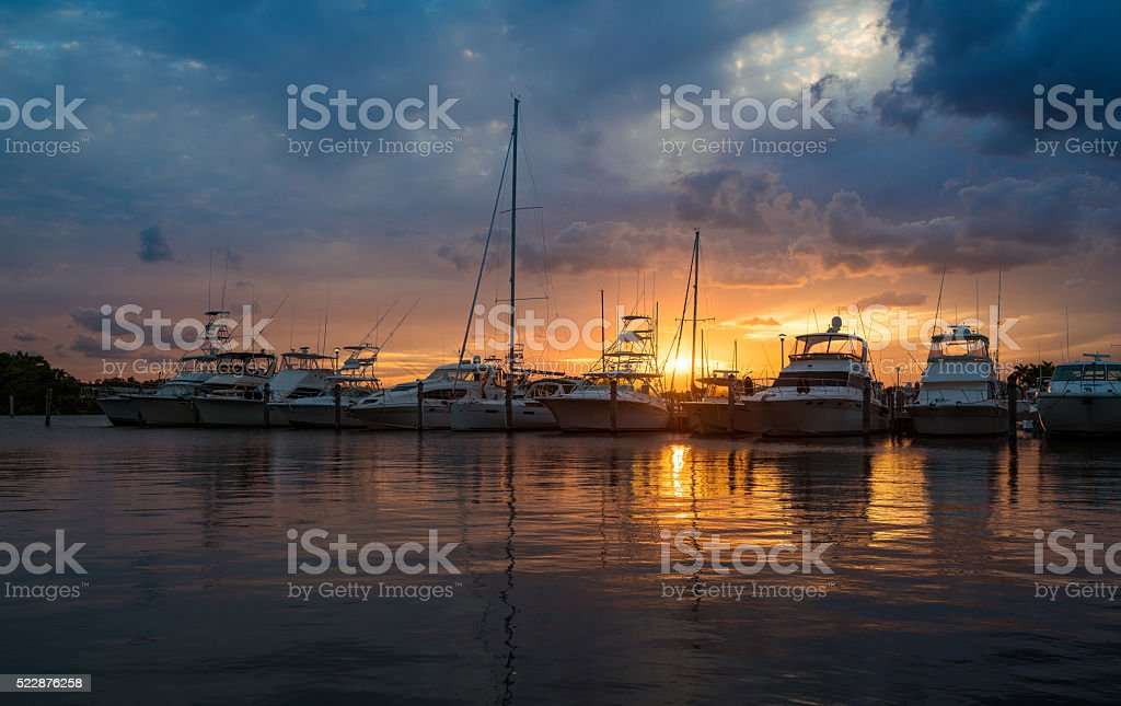 Miami marina stock photo