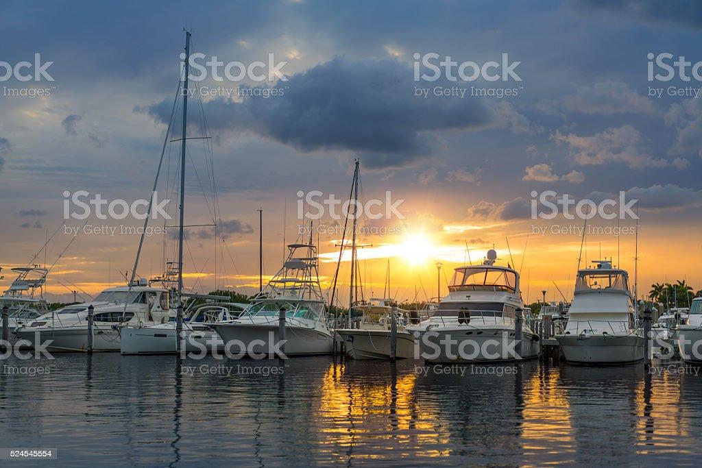 Miami marina stock photo