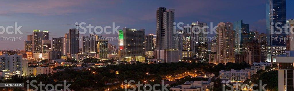 Miami Night Panorama royalty-free stock photo