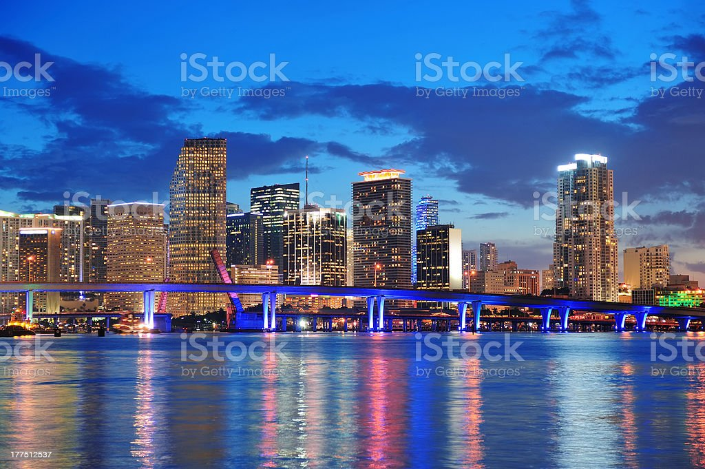 Miami night scene royalty-free stock photo