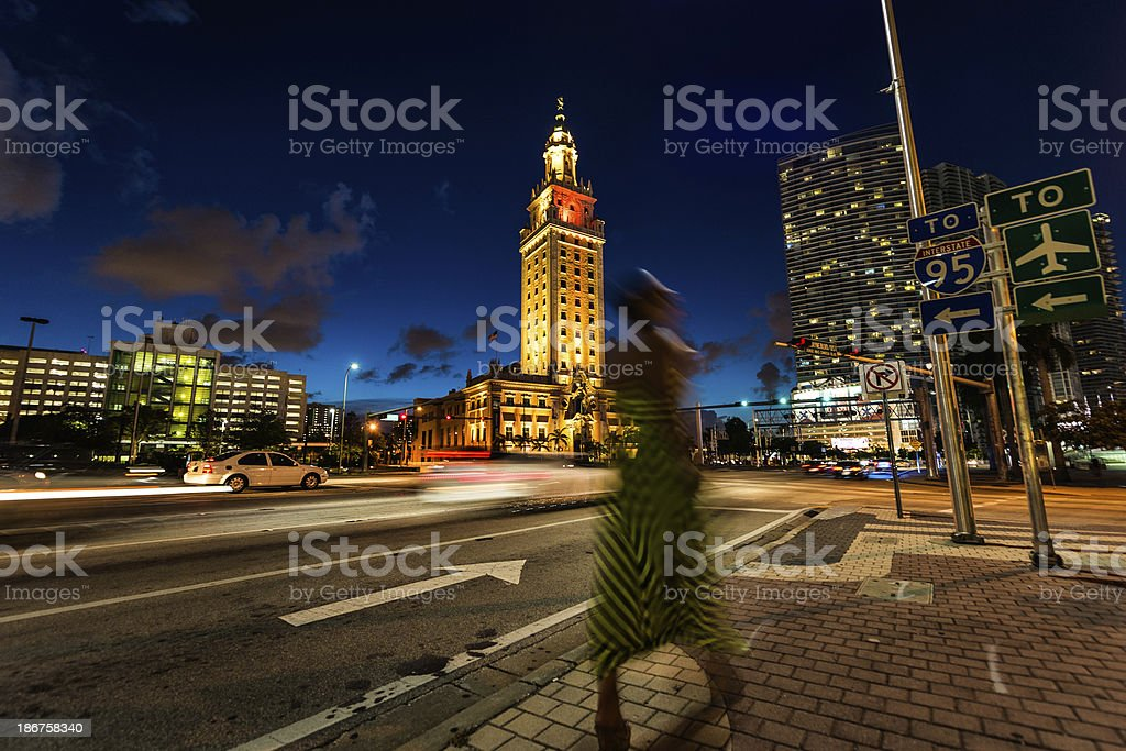 Miami night walk stock photo
