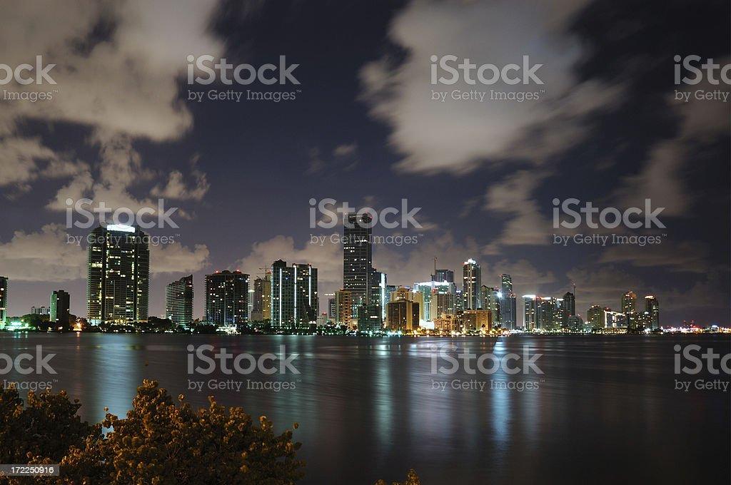 miami nights clouds over brickell stock photo