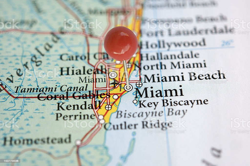 Miami on a map royalty-free stock photo