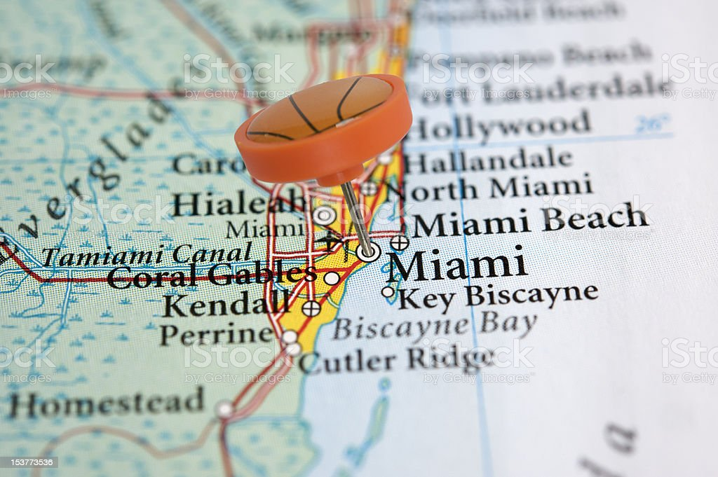 Miami on a map with basketball pin royalty-free stock photo