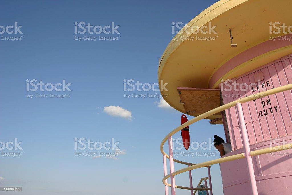 Miami Pink Lifeguard Station stock photo