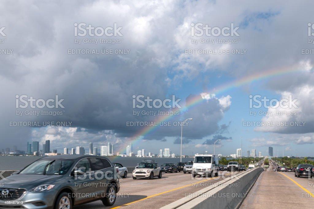 Miami rainbow stock photo