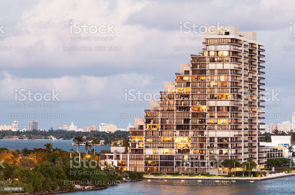 Miami Real Estate Building Architecture on Venetian Causeway stock photo