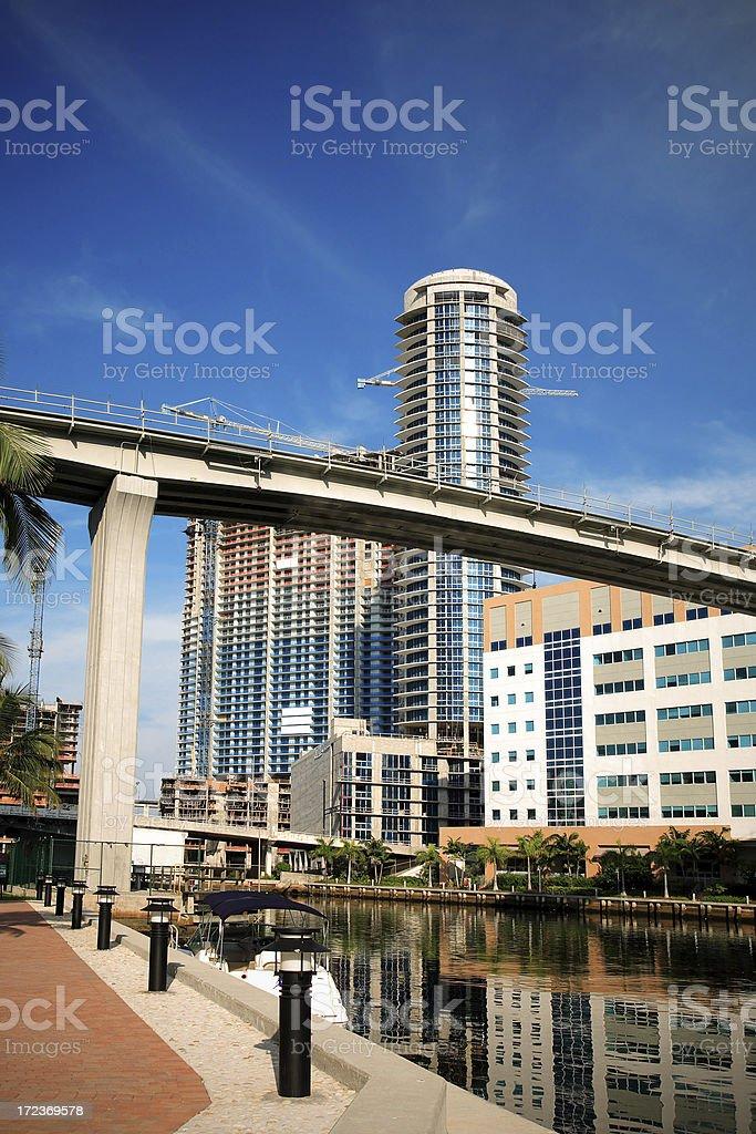 miami river downtown stock photo