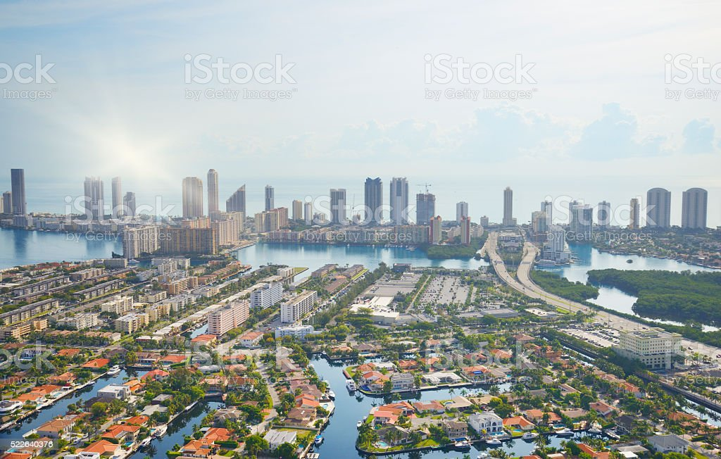 Miami Skyline Aerial View stock photo