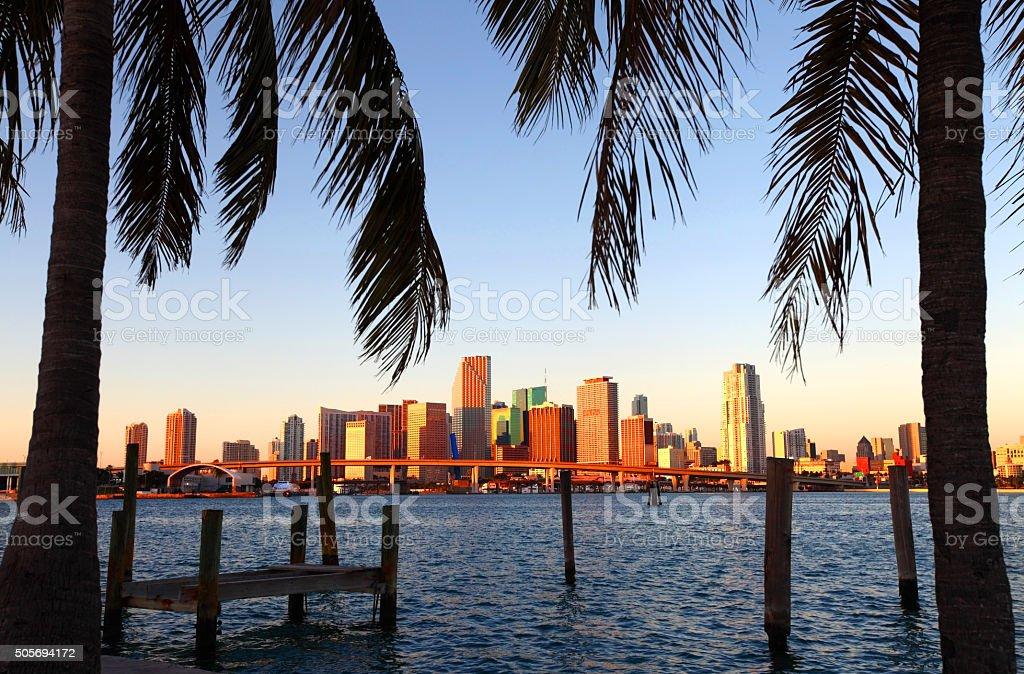 Miami skyline along the banks of Biscayne Bay stock photo