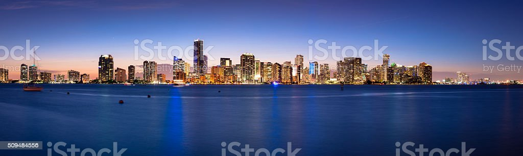 Miami Skyline at Night stock photo