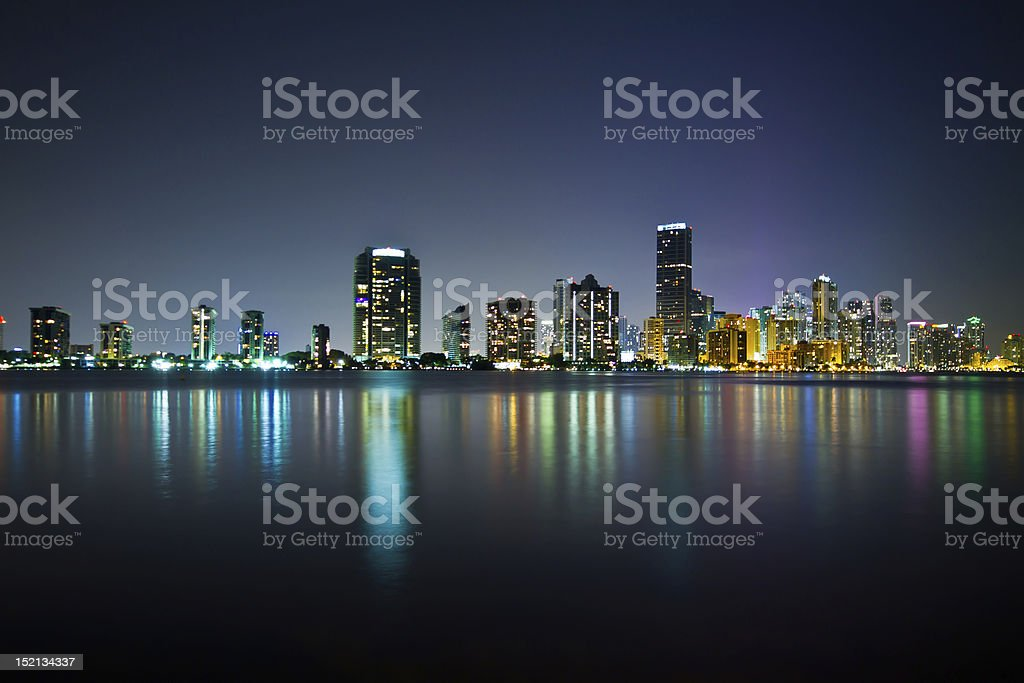 Miami skyline at night, waterfront with open space stock photo