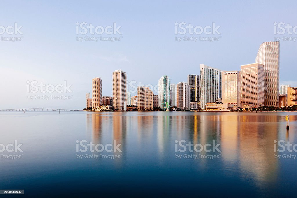 Miami Skyline at Sunrise stock photo