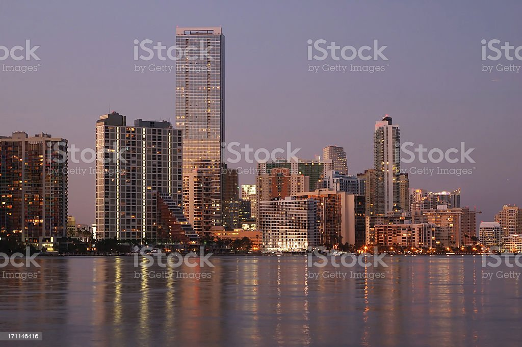 miami skyline at sunset royalty-free stock photo