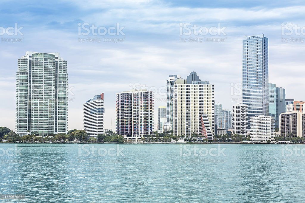 Miami skyline from Biscayne Bay royalty-free stock photo