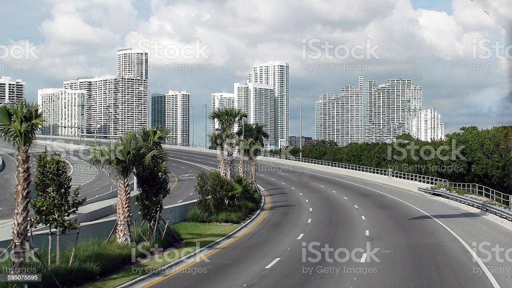 Miami skyline from biscayne boulevard stock photo