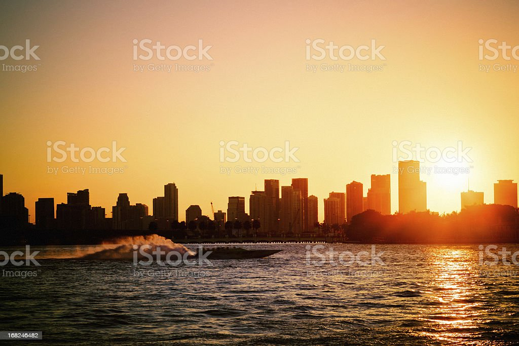 Miami Skyline, Motorboating at Sunset royalty-free stock photo