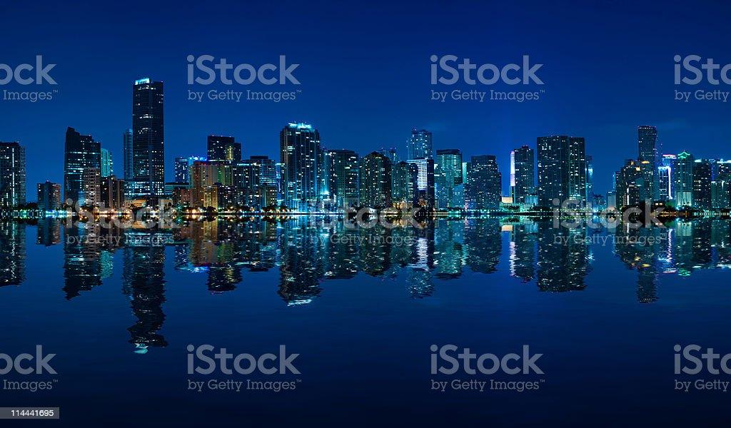 Miami skyline night panorama stock photo