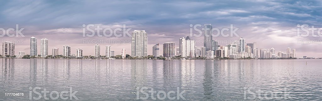 Miami skyline panorama  from Biscayne Bay royalty-free stock photo