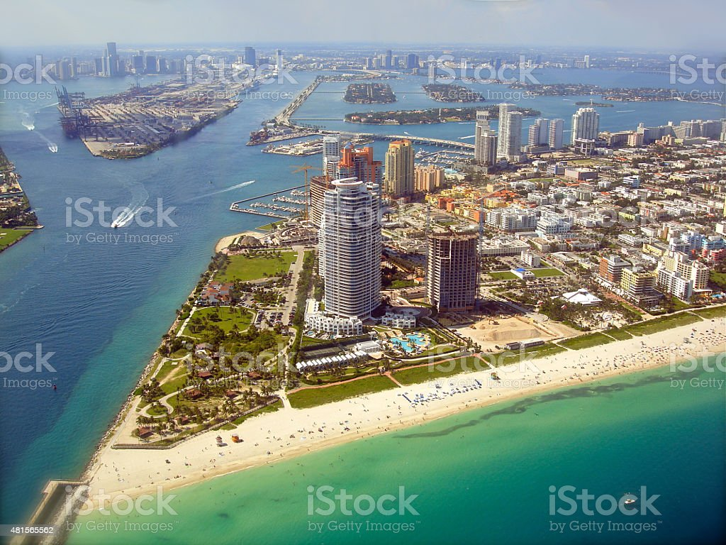 Miami Skyline - view from Plane stock photo