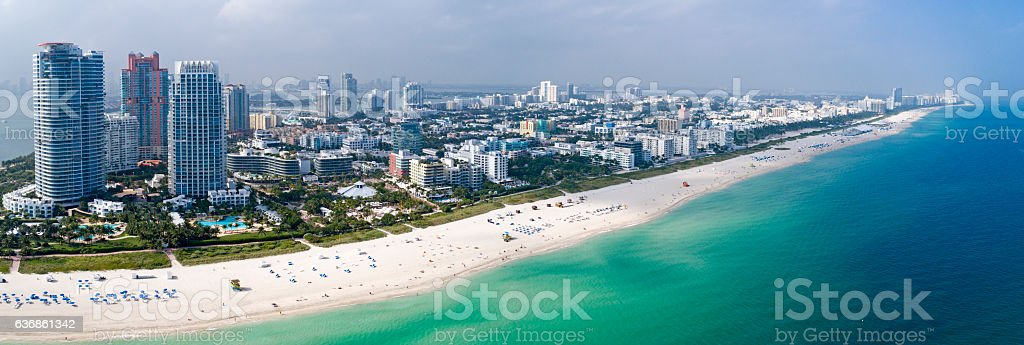 Miami South Beach Aerial Panorama Sunny Day stock photo