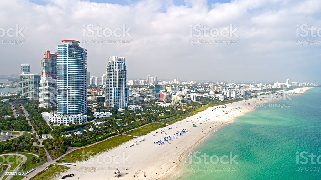 Miami South Beach Aerial View Sand Ocean and High Rises stock photo