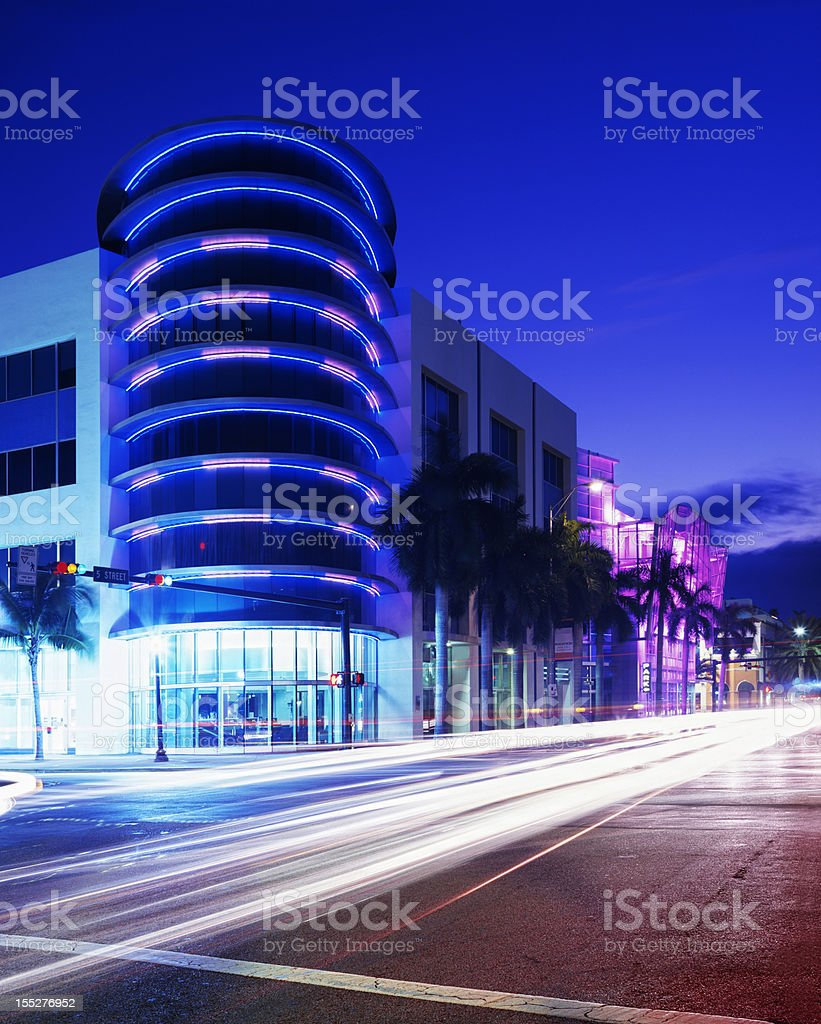 Miami South Beach Architecture Neon Nightlife Travel Destinations stock photo
