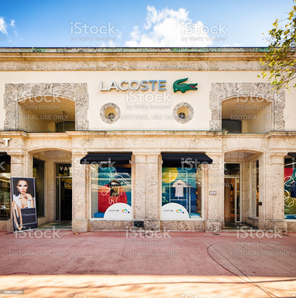 Miami South Beach Lacoste clothing store facade on Lincoln road stock photo