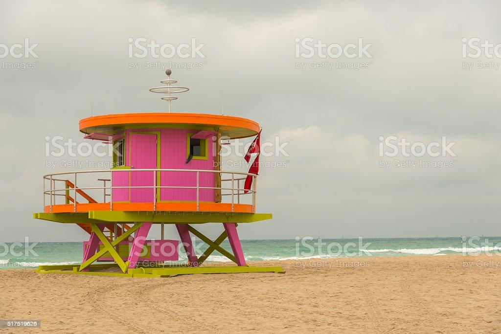 Miami South Beach Lifeguard Hut USA stock photo