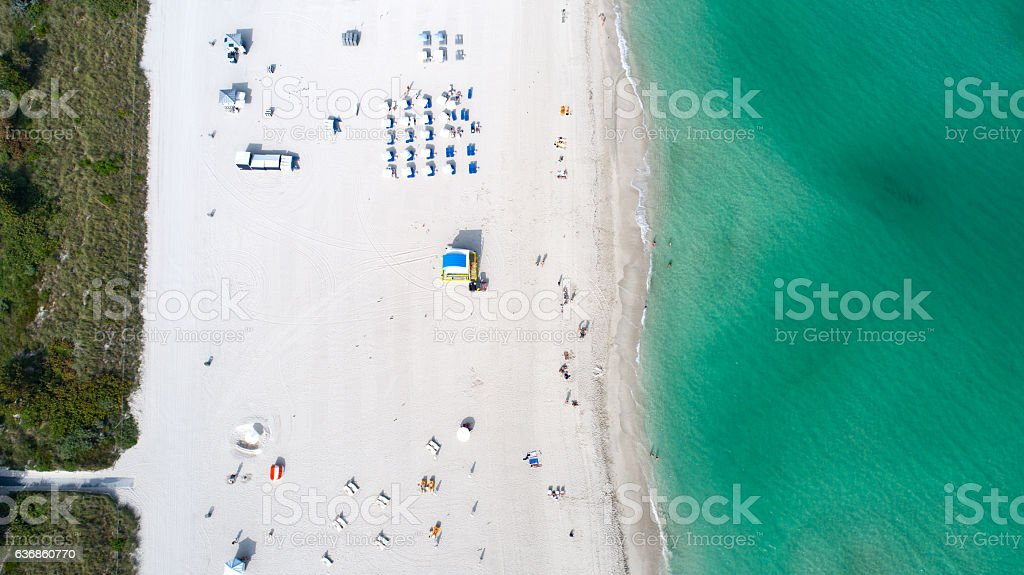 Miami South Beach Overhead Aerial View stock photo