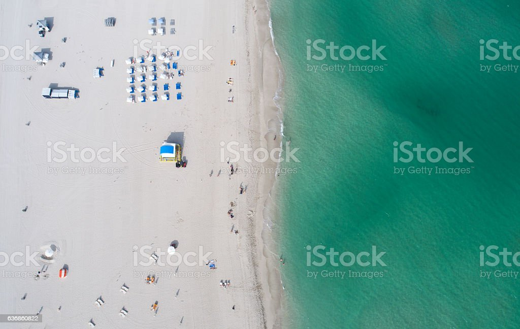 Miami South Beach Overhead Aerial View White Sand Green Water stock photo