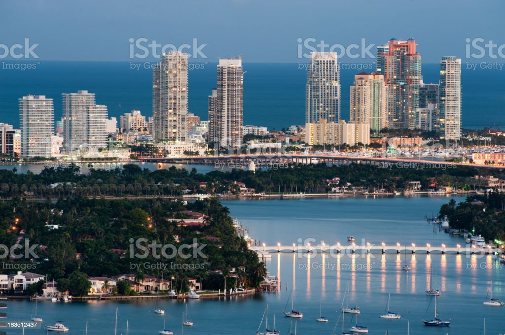 Miami South Beach Skyline at Sunset with Star Island stock photo